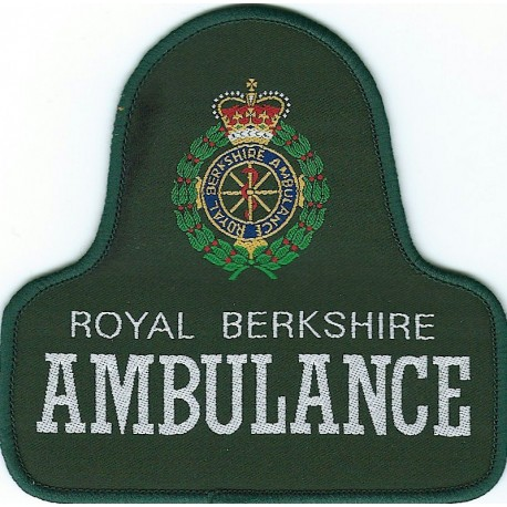 Royal Berkshire Ambulance Overalls Badge On Green Bell Shape + Crest with Queen Elizabeth's Crown. Woven Ambulance Insignia
