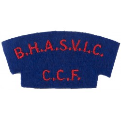 BHASVIC/CCF (Brighton Hove & Sussex Sixth Form Colle Red On Blue  Embroidered Sew-on Army cloth shoulder title