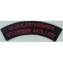 Gloucestershire / Volunteer Artillery Red On Blue  1961-67  Embroidered Sew-on Army cloth shoulder title