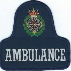 Derbyshire Ambulance Service Pullover Badge On Blue Bell Shape + Crest with Queen Elizabeth's Crown. Woven Ambulance Insignia