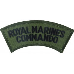 Royal Marines / Commando - Black On Olive Curved  Embroidered Sew-on Army cloth shoulder title