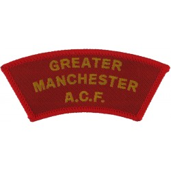 Greater / Manchester / ACF  (1999 Issue) Yellow On Red  Woven Sew-on Army cloth shoulder title