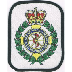 South & East Wales Ambulance Service NHS Trust Crest On White with Queen Elizabeth's Crown. Woven Ambulance Insignia
