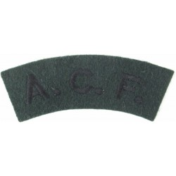 ACF (Army Cadet Force) Black On Rifle Green  Embroidered Sew-on Army cloth shoulder title