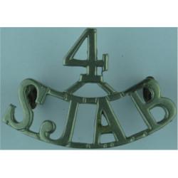 4 / SJAB (St John Ambulance Brigade) Shoulder Title  White Metal Ambulance Insignia