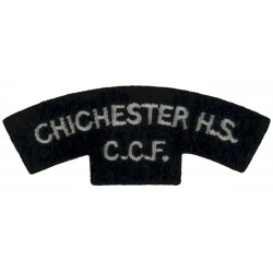 Chichester HS / CCF White On Dark Green  Embroidered Sew-on Army cloth shoulder title