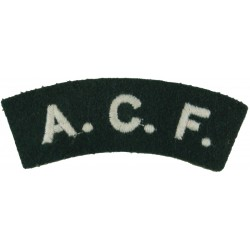 ACF (Army Cadet Force) White On Mid-Green  Embroidered Sew-on Army cloth shoulder title