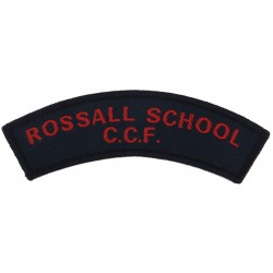 Rossall School / CCF Red On Navy Blue  Woven Sew-on Army cloth shoulder title