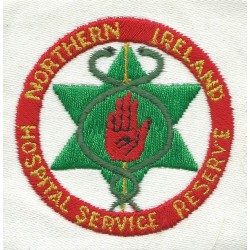Northern Ireland Hospital Service Reserve On White Square  Embroidered Ambulance Insignia