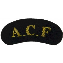 ACF (Army Cadet Force) - For Mess Kit Gold On Navy Blue  Bullion wire-embroidered Sew-on Army cloth shoulder title