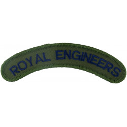 Royal Engineers (Curved Shoulder Title) Blue On Olive  Embroidered Sew-on Army cloth shoulder title