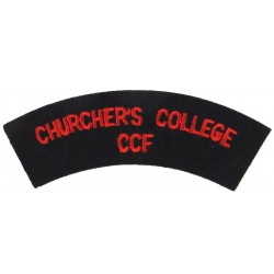 Churcher's College / CCF Red On Black  Embroidered Sew-on Army cloth shoulder title