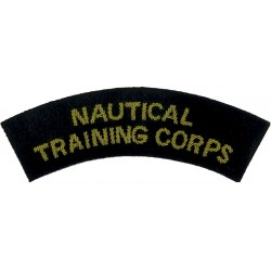 Nautical / Training Corps - Curved Shoulder Title Gold On Navy Blue  Bullion wire-embroidered Sew-on Army cloth shoulder title