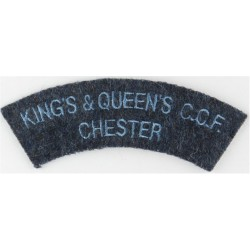 Cheshire (Cheshire Regiment) Black On Olive Green Embroidered Slip-on Army cloth shoulder title