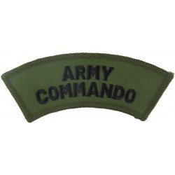Army / Commando (2 Lines Of Text) Black On Olive  Embroidered Sew-on Army cloth shoulder title