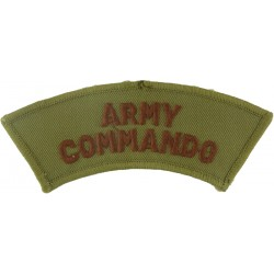 Army / Commando (2 Lines Of Text) Brown On Sand  Embroidered Sew-on Army cloth shoulder title