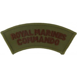 Royal Marines / Commando - Brown On Sand Curved  Embroidered Sew-on Army cloth shoulder title