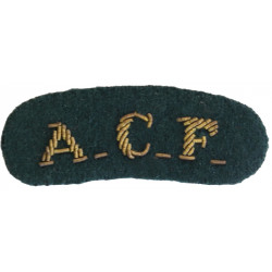 ACF (Army Cadet Force) - For Mess Kit Gold On Rifle Green  Bullion wire-embroidered Sew-on Army cloth shoulder title