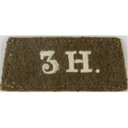 3H (3rd The King's Own Hussars) WW1 - White On Khaki  Embroidered Slip-on Army cloth shoulder title