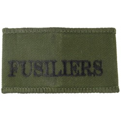 Fusiliers (Royal Regiment Of Fusiliers) Black On Olive Green  Embroidered Slip-on Army cloth shoulder title