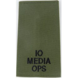 IO/Media/Ops (Information Officer Media Operations) Black On Olive  Embroidered Slip-on Army cloth shoulder title