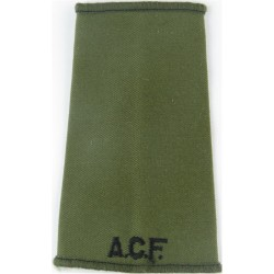 ACF (Army Cadet Force) Black On Olive Green  Embroidered Slip-on Army cloth shoulder title