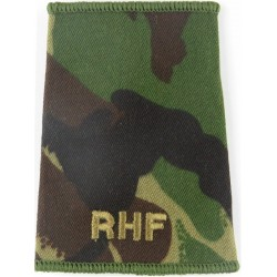RHF (Royal Highland Fusiliers) - Pre-2006 Brown On Camouflage  Embroidered Slip-on Army cloth shoulder title