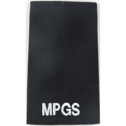 MPGS (Military Provost Guard Service) White On Black  Embroidered Slip-on Army cloth shoulder title
