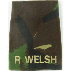 R Welsh (The Royal Welsh) Brown On DPM Camo  Embroidered Slip-on Army cloth shoulder title