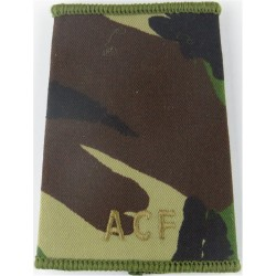 ACF (Army Cadet Force) Brown On Camouflage  Embroidered Slip-on Army cloth shoulder title