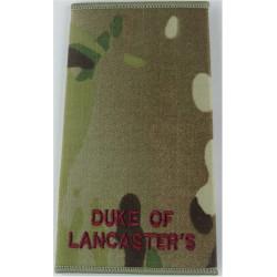 Duke Of / Lancaster's (Duke Of Lancaster's Regiment) Maroon / MTP Camo  Embroidered Slip-on Army cloth shoulder title