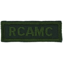 RCAMC (Royal Canadian Army Medical Corps) Green On Olive  Embroidered Non-British Army shoulder title