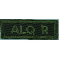 Alq R (Algonquin Regiment) (Canadian Army) Green On Olive  Embroidered Non-British Army shoulder title