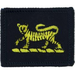 Princess Of Wales's Royal Regiment (Tiger On Blue Linen Rectangle)  Embroidered Regimental cloth arm badge