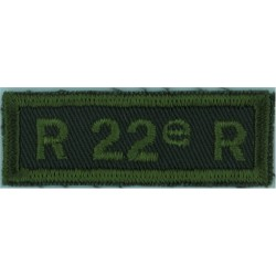 12e RBC (M) (Regiment Blinde Du Canada (Milice)) Green On Olive  Embroidered Non-British Army shoulder title