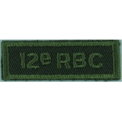12e RBC (Regiment Blinde Du Canada/12 Armoured Regt Green On Olive  Embroidered Non-British Army shoulder title