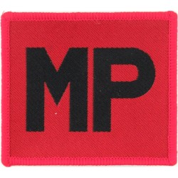 Royal Military Police Armbadge - Merrowed Edge Black MP On Red  Woven Regimental cloth arm badge