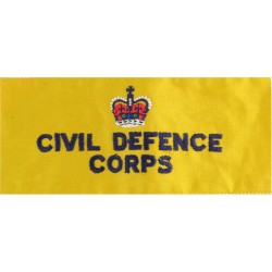 Civil Defence Corps Armband (Regional Staff) Navy Blue On Yellow with Queen Elizabeth's Crown. Embroidered Arm-Band or Brassard