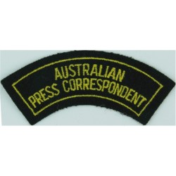 Australian / Press Correspondent - With Border Yellow On Dark Green  Embroidered Non-British Army shoulder title