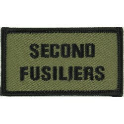 Royal Regt Of Fusiliers: 2nd Bn: Second/Fusiliers Olive + Black Edging  Embroidered Regimental cloth arm badge