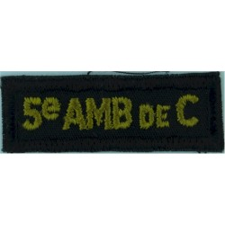 5 AMB De C (5th Ambulance De Campagne Canadian Army) Yellow On Black  Embroidered Non-British Army shoulder title