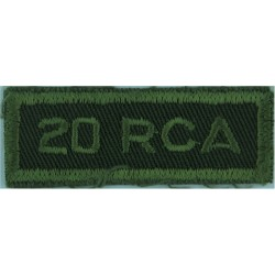 20 RCA (20th Field Regiment Royal Canadian Artillery Green On Olive  Embroidered Non-British Army shoulder title