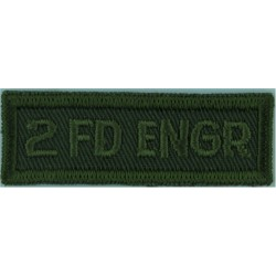 2 Fd Engr (2nd Field Engineer Regiment) Canada Green On Olive  Embroidered Non-British Army shoulder title