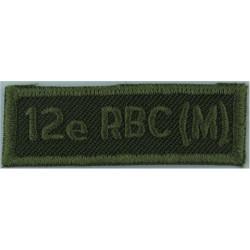 12e RBC (M) (Regiment Blinde Du Canada (Milice)) Green On Olive  Embroidered Non-British Army shoulder title