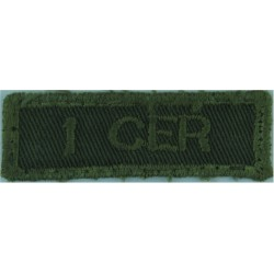 1 CER (1st Combat Engineer Regiment - Canadian Army) Green On Olive  Embroidered Non-British Army shoulder title