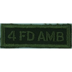 4 FD AMB (4 Field Ambulance - Canadian Army) Green On Olive  Embroidered Non-British Army shoulder title