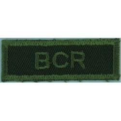 BCR (British Columbia Regiment - Canadian Army) Green On Olive  Embroidered Non-British Army shoulder title