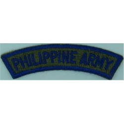 Philippine Army Blue On Olive Green  Embroidered Non-British Army shoulder title