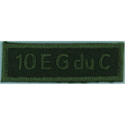 10 EG Du C (10 Escadron Genie Du Canada - Engineers) Green On Olive  Embroidered Non-British Army shoulder title