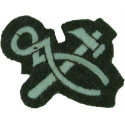 Crossed Hammer & Pincers Small On Khaki  Embroidered Army cloth trade badge